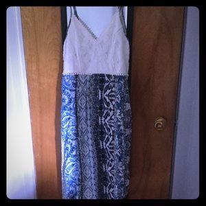 Blue & White Asymmetrical Dress